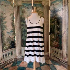 Ivory lace and black stripe dress